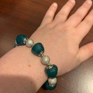 Ann Taylor Teal and Silver Stretch Bracelet